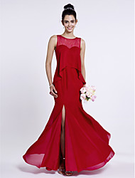 cheap -Mermaid / Trumpet Jewel Neck Floor Length Chiffon Bridesmaid Dress with Buttons Split Front by LAN TING BRIDE®