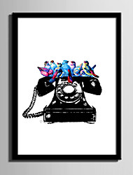 E-HOME® Framed Canvas Art Bird on The Phone Framed Canvas Print One Pcs