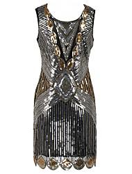 Mantel / Spalte Schaufel Hals Knielänge Polyester Cocktailparty Kleid mit Pailletten