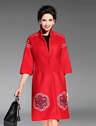 Dámské Výšivka Běžné/Denní / Velké velikosti Sofistikované Kabát-Polyester Zima Stojáček Tříčtvrteční rukáv Červená / Černá / Zelená
