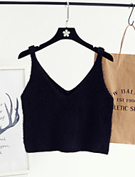 cheap -Women's Daily Going out Cute Solid Strap Vest, Long Sleeves All Seasons