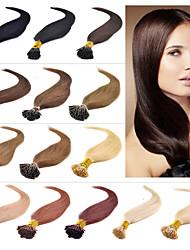baratos -Febay Queratina / Ponta I Extensões de cabelo humano Liso Extensões de Cabelo Natural Cabelo Humano Mulheres - Loiro Morango Ruivo Escuro Marrom Médio
