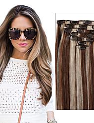 Недорогие -Febay На клипсе Расширения человеческих волос Прямой Натуральные волосы Бразильские волосы Medium Brown / Bleach Blonde Черный / Bleach Blonde Golden Brown / Bleach Blonde