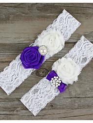 baratos -Algodão Renda Aquecedores de Pernas Fashion Casamento Wedding Garter - Laço Branco Renda Ligas Outros Casamento Festa / Noite