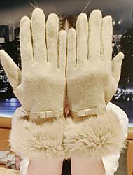 Women's Lamb Fur Wrist Length Fingertips,Casual Patchwork Winter