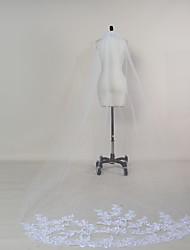 cheap -One-tier Lace Applique Edge Wedding Veil Chapel Veils 53 Appliques Tulle