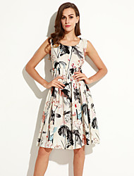 Summer/Fall Daily Women's Dresses Round Neck Sleeveless Vintage Chinese Style Printing Knee-length Dress