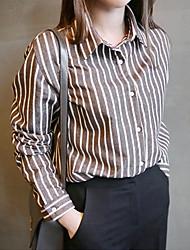 Для женщин Рабочая одежда На каждый день Осень Рубашка Рубашечный воротник,Классический и неустаревающий В полоску Длинный рукав,Не указан