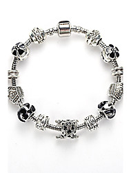 cheap -Women's Bracelet Jewelry Blue of Silver Exquisite Glass Bead Bracelet With Safety Chain Luxury Strand
