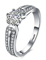 abordables -Femme Luxe Zircon cubique Platiné / Imitation Diamant Bague - Six Griffes Luxe / Amour / Cœur Argent Bague Pour Mariage / Soirée /