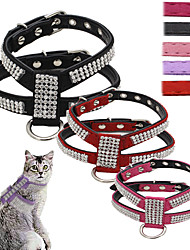 cheap -Dog Harness Leash Adjustable / Retractable Sequins Vest Mosaic Rhinestone PU Leather Black Purple Rose Red Pink