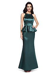 cheap -Mermaid / Trumpet Jewel Neck Floor Length Stretch Satin Formal Evening Dress with Ruffles by TS Couture®