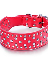 Dog Collar Adjustable/Retractable / Studded / Sequins Rhinestone / Rock Red / Black / White / Pink / Purple Genuine Leather