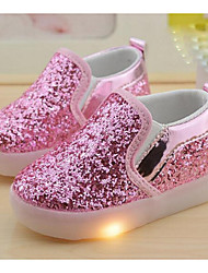 Girls' Shoes Glitter PU Comfort Loafers & Slip-Ons For Casual White Black Silver Blushing Pink