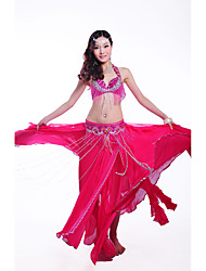 cheap -Belly Dance Outfits Women's Performance Polyester Sequined 3 Pieces Sleeveless Dropped Skirt Bra Waist Belt