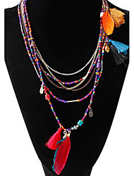 cheap -Women's Turquoise Beaded Chain Necklace / Strands Necklace  -  Feather Tassel, Bohemian Black, Blue, Assorted Color Necklace For Party, Daily, Casual