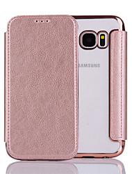 preiswerte -Hülle Für Samsung Galaxy S7 edge S7 Flipbare Hülle Ganzkörper-Gehäuse Volltonfarbe Hart PU-Leder für S7 edge S7 S6 edge S6