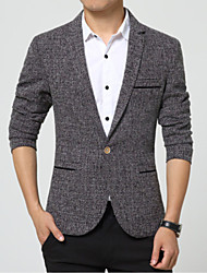 Men's Casual/Daily Work Simple Spring Fall Blazer,Solid Notch Lapel Long Sleeve Regular Nylon