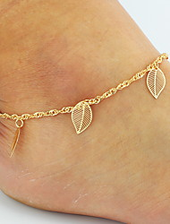 cheap -Leaf Anklet Leg Chain Chains Barefoot Sandals - Women's Golden Basic Bikini Double-layer Roses Leaf Butterfly Flower Animal Alloy Anklet