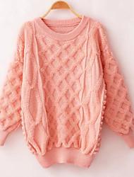 economico -Lungo Pullover Da donna-Casual Moda città Tinta unita Rosa Rosso Bianco Nero Girocollo Manica lunga Acrilico Autunno InvernoMedio