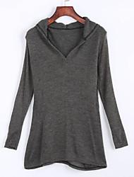 Tee-shirt Aux femmes,Couleur Pleine Décontracté / Quotidien Chic de Rue Eté Manches Longues Capuche Beige / Gris Coton Moyen