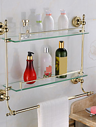 Bathroom Shelf Bathroom Gadget / Ti-PVD Brass Glass /Contemporary