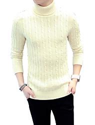Standard Pullover Da uomo-Casual Taglie forti Sensuale Semplice Moda città Tinta unita Blu Rosso Beige Grigio A collo alto Manica lunga