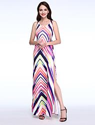 cheap -Women's Sheath Dress - Striped Color Block, Criss-Cross Split Maxi Halter