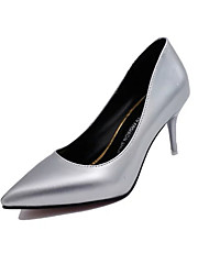 cheap -Women's Heels Comfort Patent Leather Fall Casual Walking Comfort Stiletto Heel Crystal Heel Gold Black Silver Blue 3in-3 3/4in