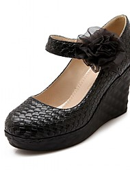 Недорогие -Жен. Обувь Лакированная кожа Микроволокно Весна Лето Удобная обувь Оригинальная обувь Обувь на каблуках Для прогулок Туфли на танкетке