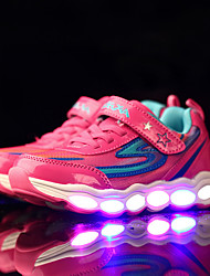 Girl's Sneakers Fall Winter Comfort Light Up Shoes PU Athletic Flat Heel Lace-up LED Green Pink Royal Blue
