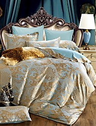 Duvet Cover Sets Solid 4 Piece Poly/Cotton Jacquard Poly/Cotton 1pc Duvet Cover 2pcs Shams 1pc Flat Sheet
