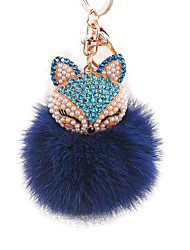 cheap -Diamond Fox Head Rabbit Fur Ball Alloy Key Ring Fashion Bags Ornaments