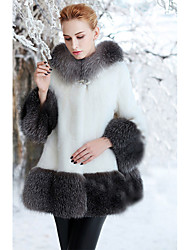 Пальто с мехом Обычная Длинный рукав