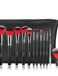 12 Set di pennelli Capelli sintetici Professionale / Viaggi / Coppa larga / Portatile Legno Viso / Occhi / Labbro MSQ