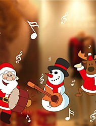 1 Pcs The Snowmen And Santa Claus Drums For Christmas Decorations Stickers Decorate Glass Door Window Stickers 70Cm*120Cm