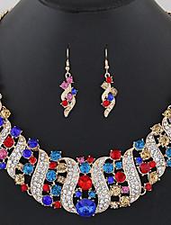 Damen Schmuckset Multi-Stein Schmuck mit Aussage Modisch Europäisch Synthetische Edelsteine Diamantimitate Aleación 1 Halskette 1 Paar