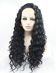 preiswerte -Synthetische Lace Front Perücken Kinky Curly Stil Spitzenfront Perücke Schwarz Schwarz Synthetische Haare Damen Natürlicher Haaransatz Schwarz Perücke Natürliche Perücke