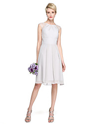 cheap -A-Line Jewel Neck Knee Length Chiffon Lace Bridesmaid Dress with Pleats by LAN TING BRIDE®