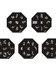 Недорогие -Металлические плиты с изображением узоров для нейл арта, кленовый лист