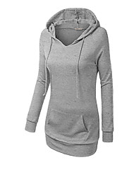 Women's Casual/Daily Sports Active Simple Hoodie Solid Oversized Round Neck Fleece Lining Stretchy Cotton Long Sleeve Fall Winter