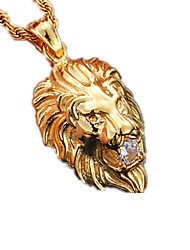 cheap -Men's Women's Lion Animal Fashion Pendant Necklace Stainless Steel Imitation Diamond Pendant Necklace , Party Daily Casual Sports