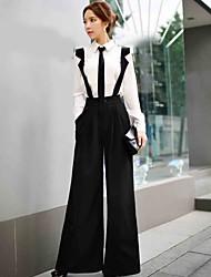 DABUWAWA Women's Solid Wide Leg Straps Pants,Street chic / Sophisticated