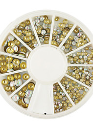 abordables -2/3 / 4mm mélange rond blanc rivet or nail art&décorations argent 400pcs
