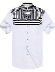 cheap -Men's Daily Formal Work Vintage Casual Summer Shirt,Striped Shirt Collar Short Sleeves Rayon Modal Medium