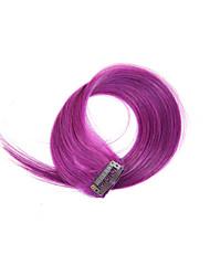 billiga -Klämma in Människohår förlängningar Rak Hårförlängningar av äkta hår Äkta hår Lila