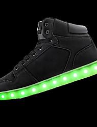 Da uomo-scarpe da ginnastica-Sportivo-Comoda Light Up Shoes-Piatto-PU (Poliuretano)-Nero Bianco
