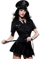 Poliziotto/Poliziotta Costumi Cosplay Vestito da Serata Elegante Donna Halloween Feste/vacanze Costumi Halloween Nero Tinta unita
