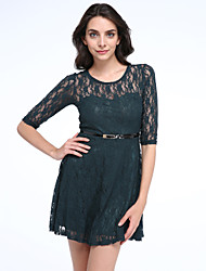 Women's Lace Solid/Lace Blue/Red/Beige Dress,Sexy Round Neck 3/4 Sleeve