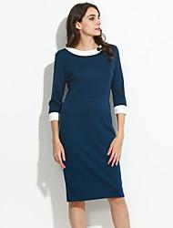 XinYuanGe® Women's Black/Blue/Red Vintage Turn Down Collar Midi Dress